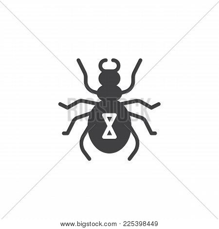 Harvest Mite Icon Vector, Filled Flat Sign, Solid Pictogram Isolated On White. Tick Symbol, Logo Ill