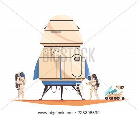 Space Technology Composition With Flat Image Of Spacecraft With Astronauts And Robotic Drone On Plan
