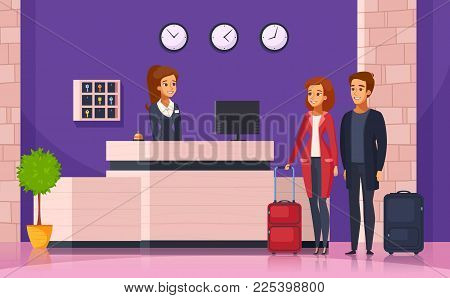 Hotel Reception Cartoon Background With Manager Behind Registration Desk And Tourists With Suitcases