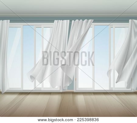 Open Window With White Frame And  Lightweight Clear Curtains Billowing On Wind, Wooden Floor Vector