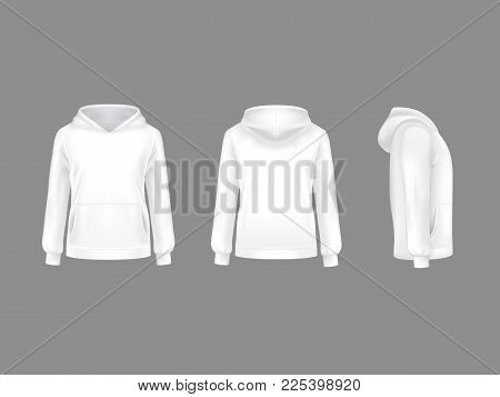 Vector Hoodie Sweatshirt White 3d Realistic Mockup Template. Fashion Long Sleeve Clothing Hooded Pul