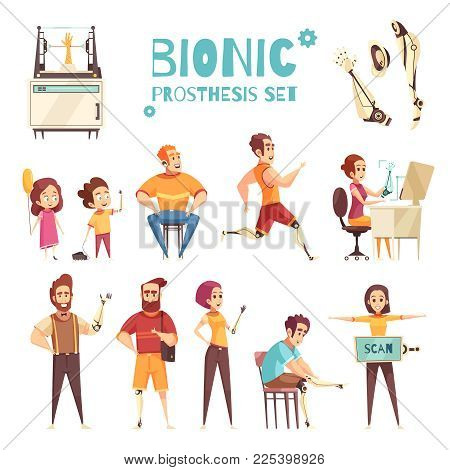 Active People With Bionic Protheses Cartoon Icons Collection With Adults And Kids With Replaced Limb