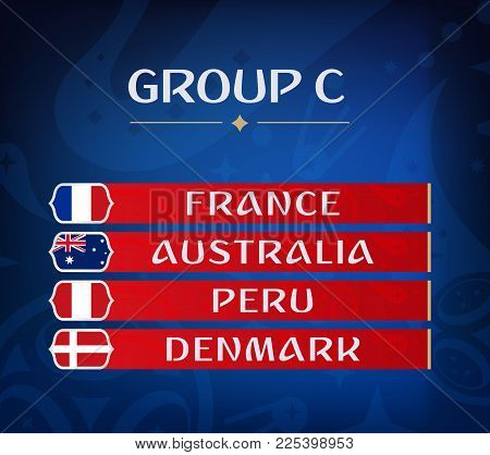 Football Championship Groups. Set Of National Flags. Draw Result. Soccer World Tournament. Group C