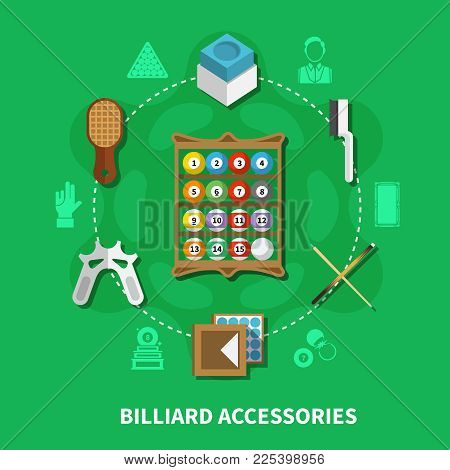 Billiard Accessories Round Composition On Green Background With Colorful Balls, Cues, Brushes For Cl