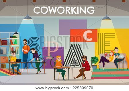 Coworking Poster Background With Text And Flat Open Space Interior With Tables Sofas And People Char
