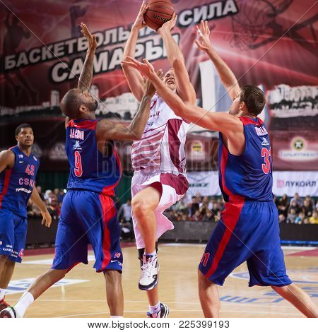 Samara, Russia - December 01: Bc Krasnye Krylia Guard Anton Ponkrashov (7) Tries To Make A Shot In T