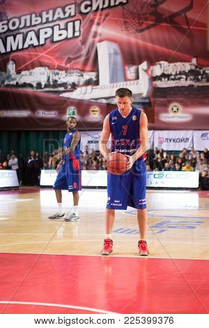 Samara, Russia - December 01: Bc Cska Guard Vitaly Fridzon (7) Prepares To Shoot A Free Throw During