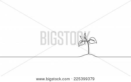 Single Continuous Line Art Growing Sprout. Plant Leaves Seed Grow Soil Seedling Eco Natural Farm Con