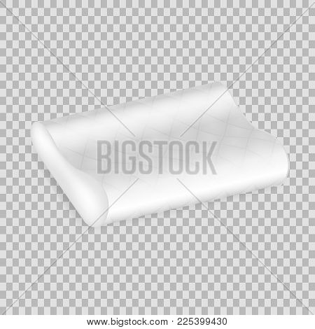 Realistic Pattern Template Of White Pillow. Empty White Air Pillow Rounded Form, Layout, Mockup, Hom