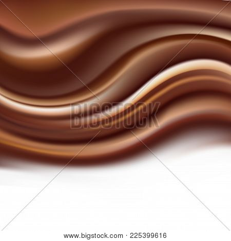 Chocolate Creamy Background With Soft Brown Wavy Ripples On White. Coffee And Milk Sweet Dessert Abs