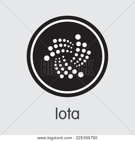 Iota: Criptocurrency Blockchain Icon On Grey Background. Virtual Currency. Vector Trading Sign - Iot