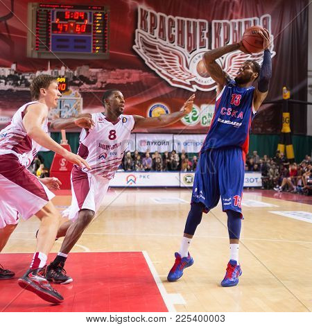 Samara, Russia - December 01: Bc Cska Forward Sonny Weems (13) Makes 2-point Shot During The Bc Kras