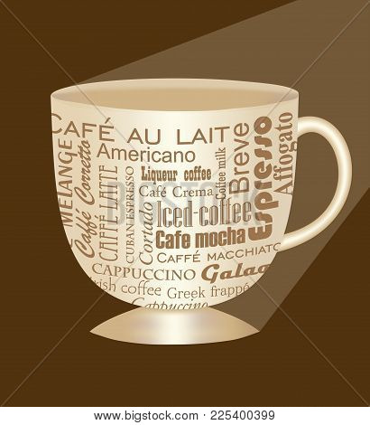 Classical Beige Porcelain Coffee Cup With Lettering Patterns, Different Kinds Of Coffee, 3d Isolated