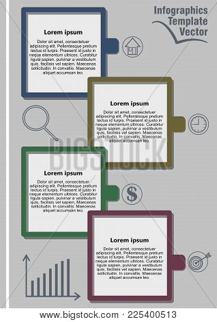 Infographic Template Abstract With Icons, Graph, Magnifier And Copy Space, Gray Design With Colorful