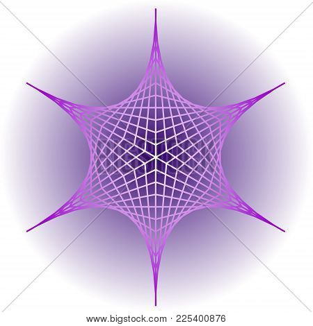 Purple Logotype In Star Shape, Geometric Element With 3d Effect, Grey Gradient Background, Vector Ep