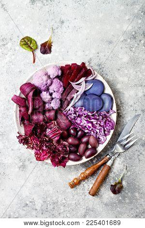Purple Buddha Bowl With Spiral Carrots, Cauliflower, Beet, Onion, Potato, Shredded Red Cabbage, Radi