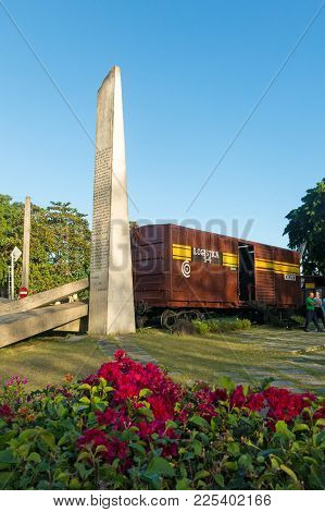 Memorial Of Train Packed With Government Soldiers Captured By Che Guevara's Forces During The Revolu