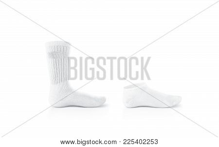 Blank White Socks Design Mockup, Long And Short, Isolated. Pair Sport Crew Cotton Sox Wear Mock Up.