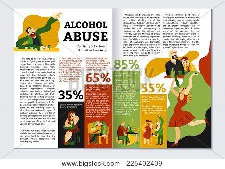 Alcohol Addiction Magazine Layout With Abuse Symbols Infographics Flat Vector Illustration