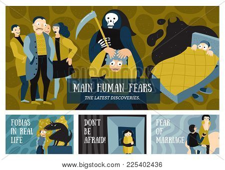 Human Fears Horizontal Banners Set With Phobias Symbols Flat Isolated Vector Illustration
