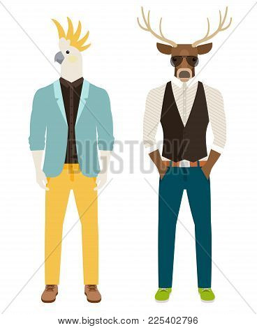 Men With The Heads Of Parrot And Deer In Casual Clothes. Antropomorphic Vector Icons Set