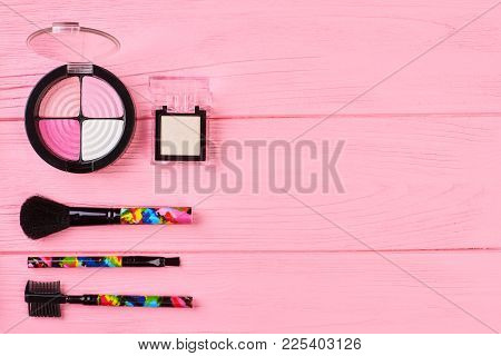 Pink And Neutral Eyeshadows, Copy Space. Set Of Colorful Eyeshadows And Glamour Brushes For Make Up.