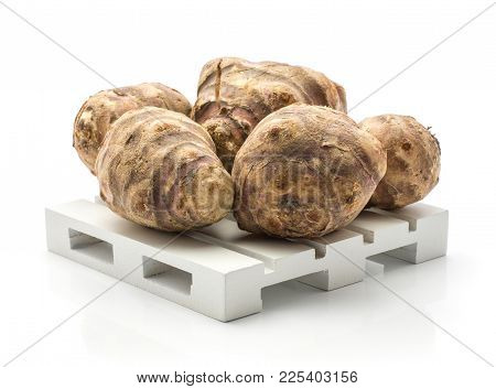 Jerusalem Artichoke Tubers On A Pallet Isolated On White Background Sweet Crisp Topinambur