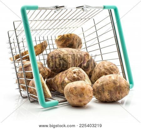 Jerusalem Artichoke Tubers Out A Shopping Basket Isolated On White Background Sweet Crisp Topinambur
