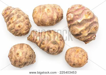Jerusalem Artichoke Six Tubers Top View Isolated On White Background Sweet Crisp Topinambur