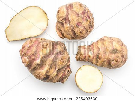 Three Jerusalem Artichoke Tubers With Two Halves Isolated On White Background Sweet Crisp Topinambur
