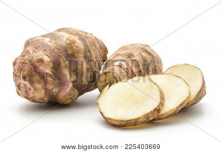 Two Jerusalem Artichoke Tubers With Three Round Slices Isolated On White Background Sweet Crisp Topi