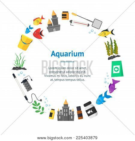 Aquarium Banner Card Circle With Fish, Blue Water And Equipment Hobby Or Decor Interior Home Include