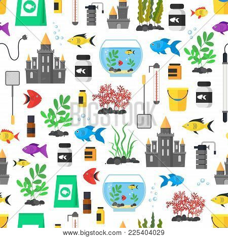 Aquarium Seamless Pattern Background On A White Hobby Or Decor Interior Home. Vector Illustration Of