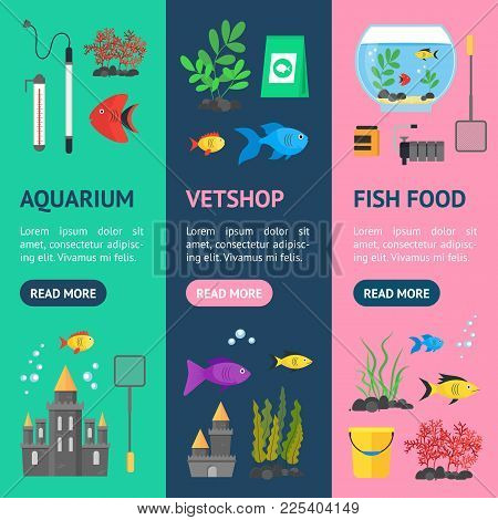 Aquarium Banner Vecrtical Set Hobby Or Decor Interior Home Include Of Thermometer, Bowl, Filter And