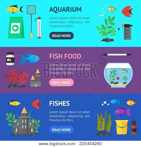 Aquarium Banner Horizontal Set Hobby Or Decor Interior Home Include Of Thermometer, Bowl, Filter And