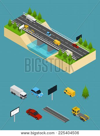Bridge Highway Over River And Elements Parts Representing Cars, Trucks And Other Transport Isometric