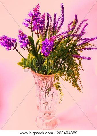 Beautiful Bouquet Of Lilac On A Weak Pink Background