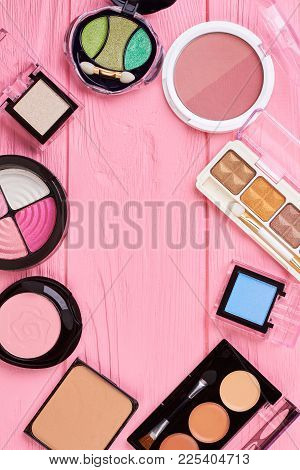 Set Of Eyeshadows, Top View. Collection Of Multicolored Eyeshadows And Pink Blushers, Copy Space In