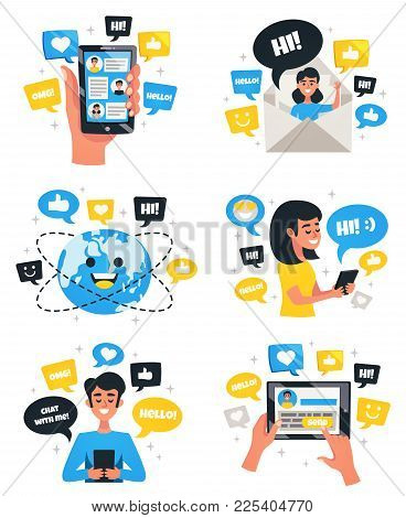 Interactive Chat Communication Worldwide With Electronic Mobile Devices 6 Flat Compositions With Sma