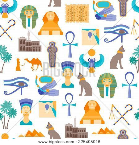 Cartoon Symbol Of Egypt Seamless Pattern Background On A White Welcome Travel Concept Oriental Cultu