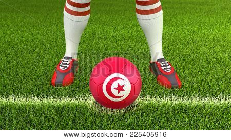 3d Illustration. Man And Soccer Ball  With Tunisian Flag