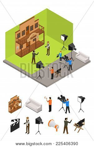 Interior Television Studio And Elements Part Isometric View Furniture, Equipment, Worker And Actors