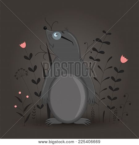 Gift Postcard With Cartoon Animal Mole. Decorative Floral Background With Branches And Plants. Postc