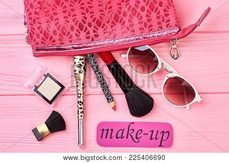 Lady Makeup Essentials And Tools. Female Cosmetics Products, Toiletry Bag, Accessories. Pink Card Wi