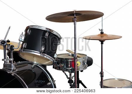 Closeup Image Of A Drum Kit Isolated On White Background
