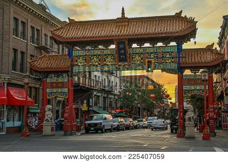 Evening In Chinatown In Town Of Victoria, Vancouver Island, Canada
