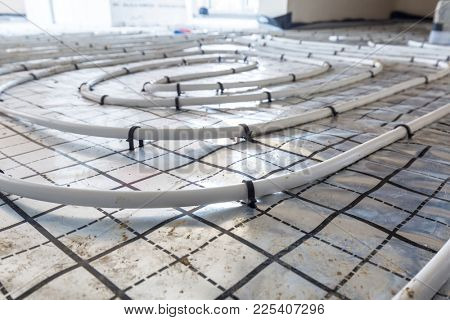 Underfloor heating system in new residential house