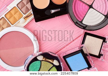 Eye Shadows Palette Set, Text Space. Multicolored Palettes Of Eyeshadow And Blusher, Pink Background