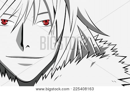 Anime Face With Red Eyes From Cartoon. Web Banner For Anime, Manga On White Background. Vector Illus
