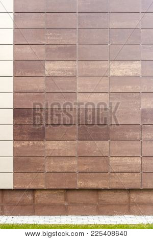 Modern Brown Metal Facade Tiles Wall And A Ground. Abstract Architecture Background